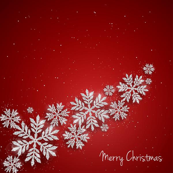 rosso Natale fiocchi di neve argento