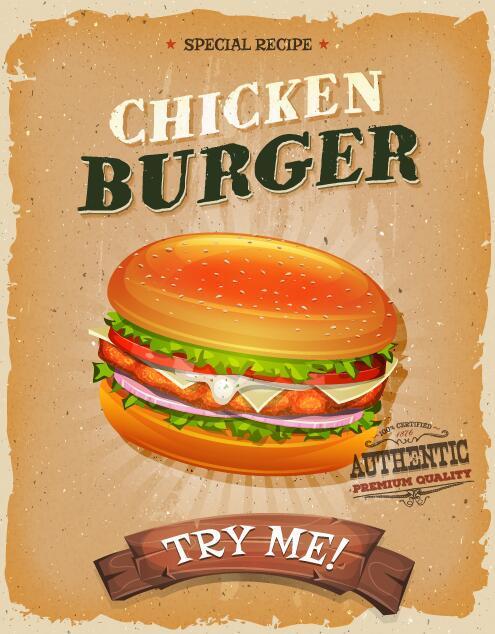 snack poster pollo hamburger