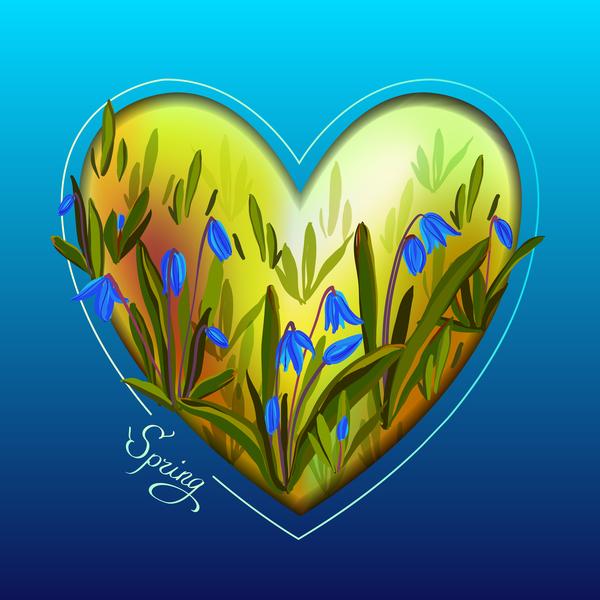 printemps en forme de cœur bleu