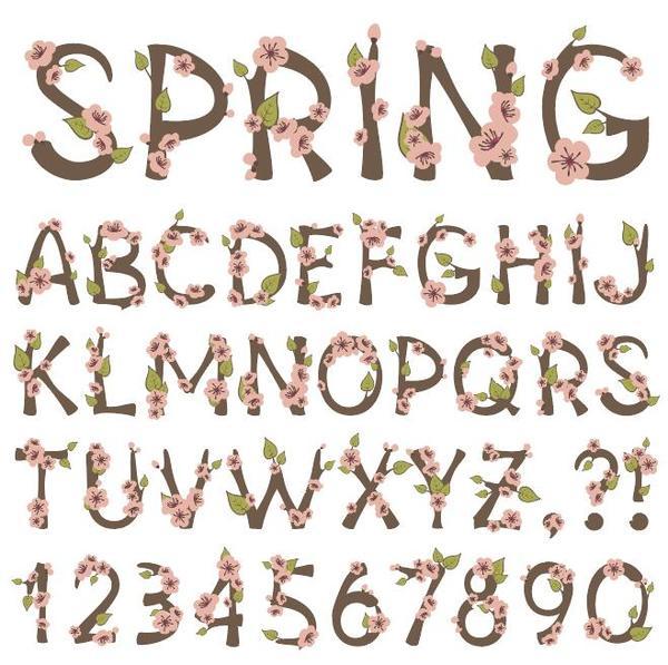 primavera numero Fiore Alfabeto