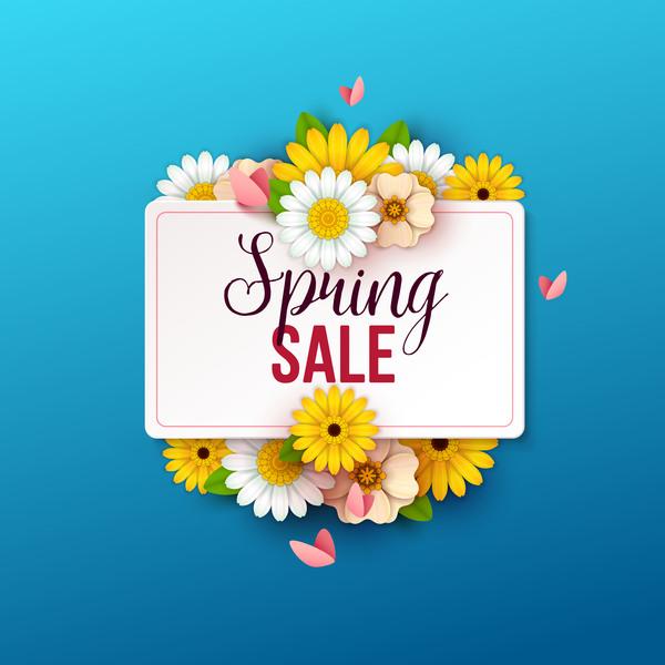 vente bleu printemps fleurs