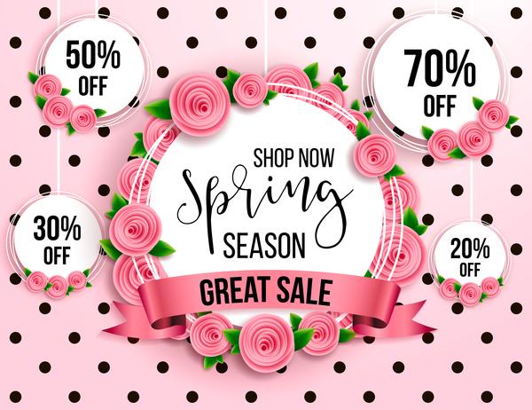 stagione sconto primavera etichetta cerchio