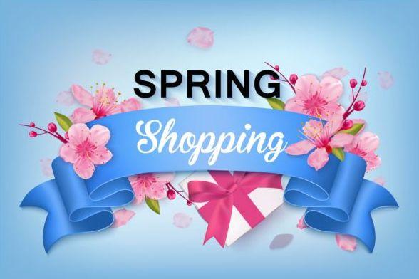 våren shoping Blomma banner band