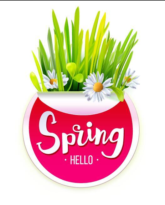 våren klistermärke gras
