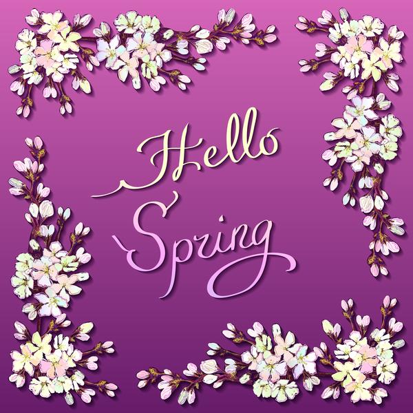 紫 正方形 春 フレーム 、花