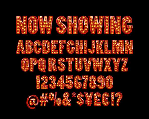 stjärnor siffror neon Alfabetet