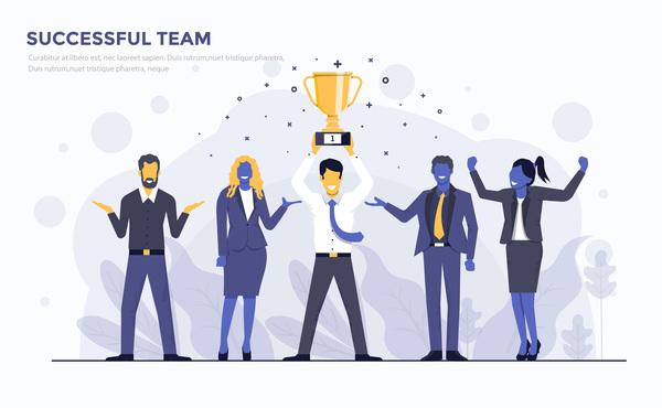 Verksamhet team platt framgångsrik