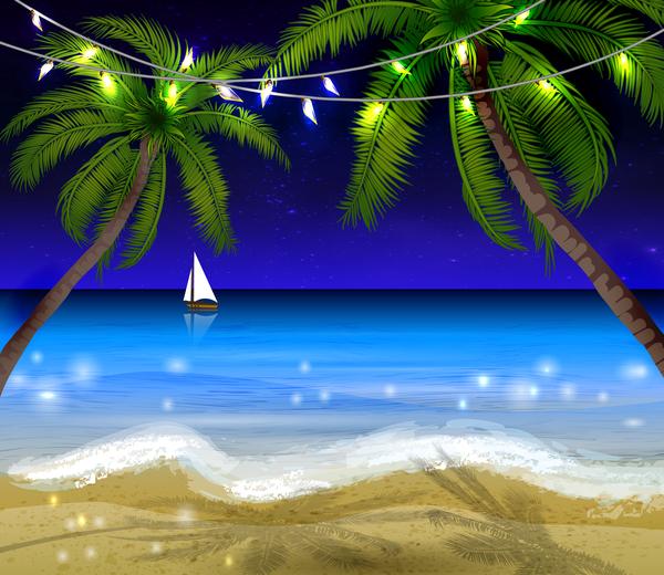 夜 夏 ビーチ