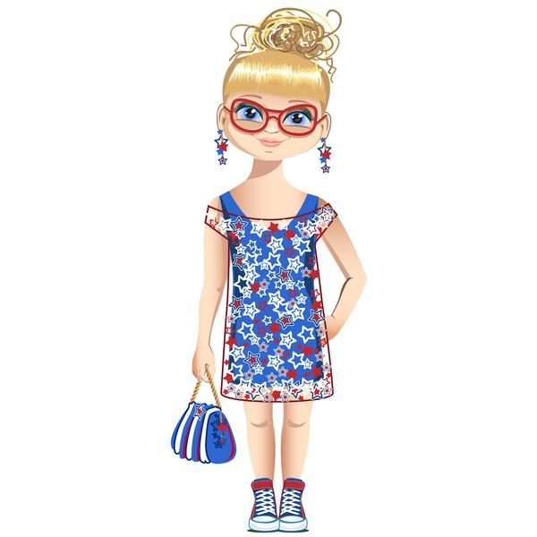 tecknad sommar flicka
