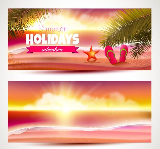 sunset summer holiday banner