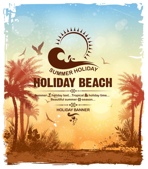 Strand sommar semester affisch
