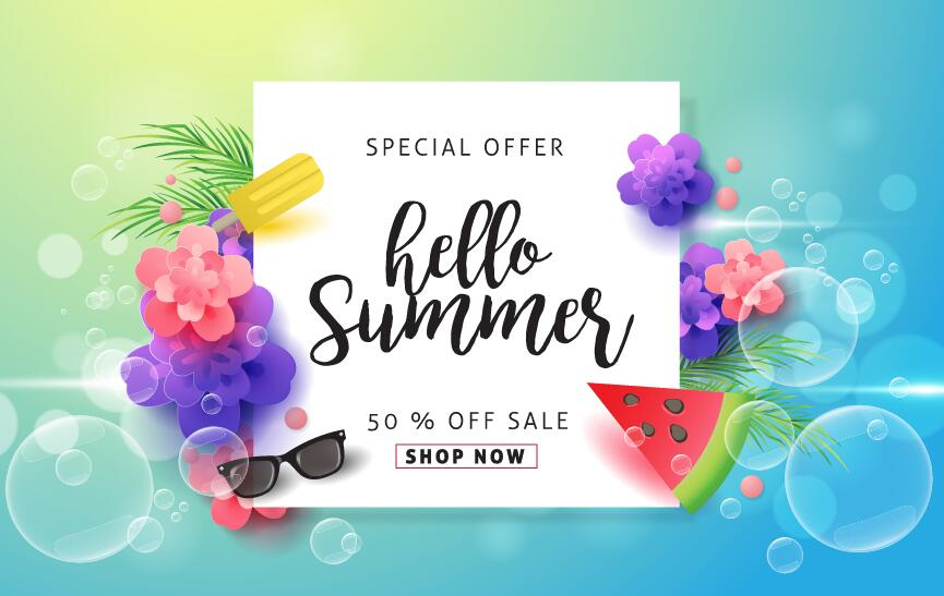 summer special offer sale poster vector 03 welovesolo