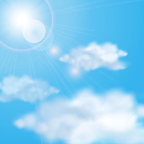 、雲、空、日光