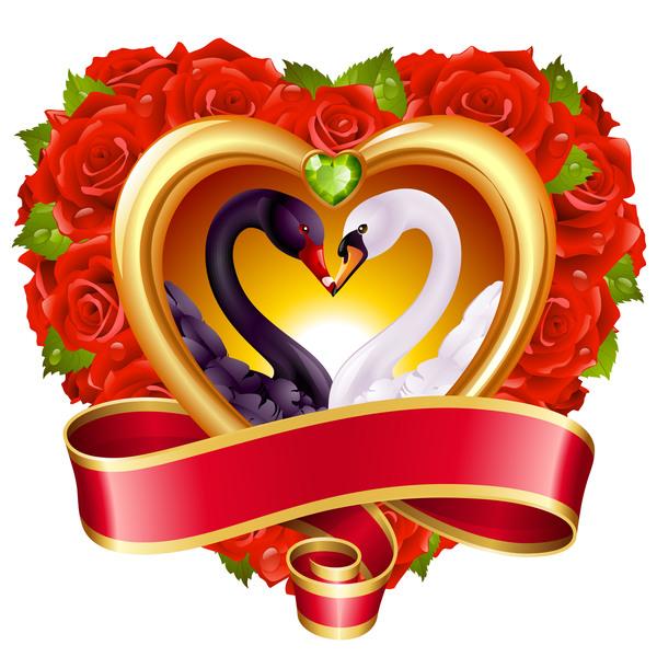 rosso nastro cuore cigno