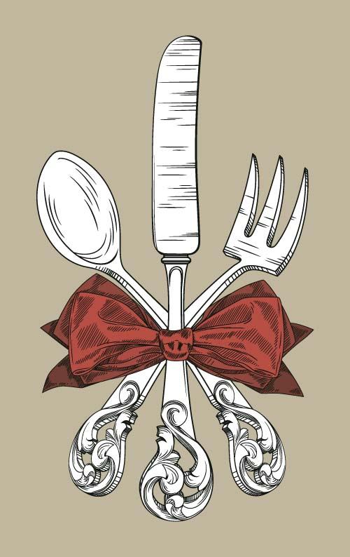 、弓、レトロなフォント、食器