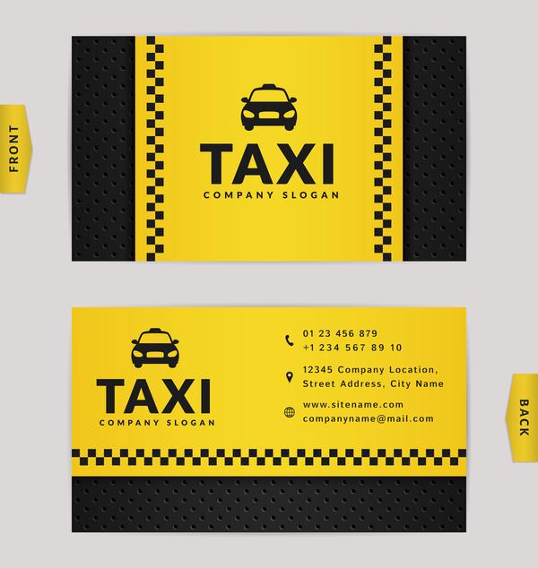 taxi noir jaune de couleur de cartes business