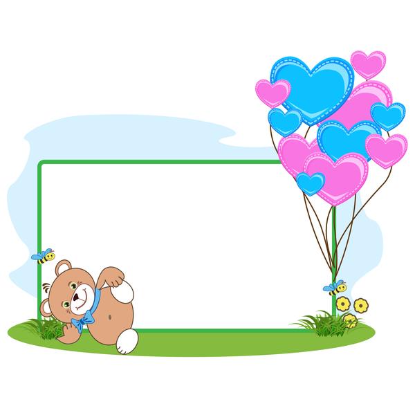 teddy ours dessin animé Coeur cadre