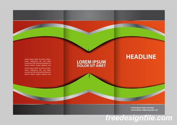 赤 緑 折りたたみ パンフレット チラシ カバー 3