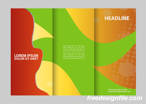 three fold flyer and brochure cover red green vector 06 welovesolo