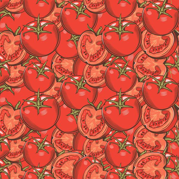 tomat sömlös ritad hand