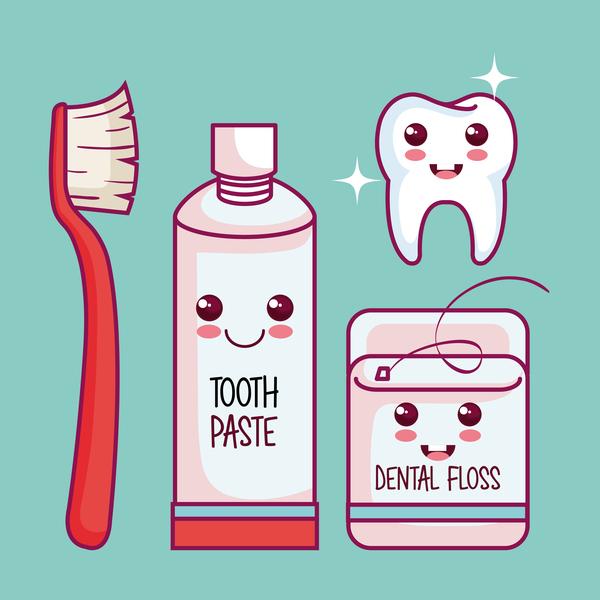 incollare Floss dente dentale cartone animato
