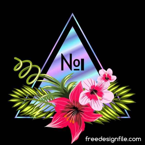 tropicale triangolo Nero fiori