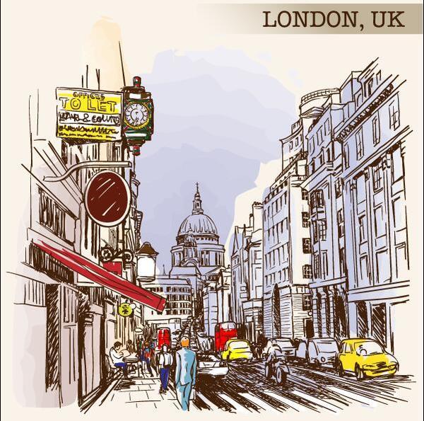 schizzo Londra dipinto