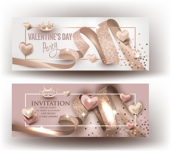 リボン バレンタイン 、ベージュ、カード、巻き毛、日、招待状、パーティー