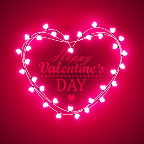 saint valentin lumière cadre ampoule