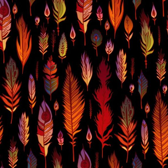 Various seamless pattern feather