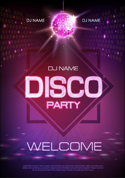 vektor nacht club disco-party plakat vorlage 05