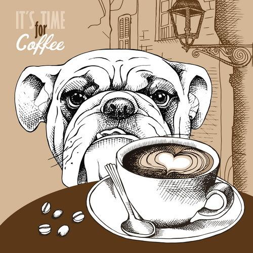 vintage rues européen chien cafe