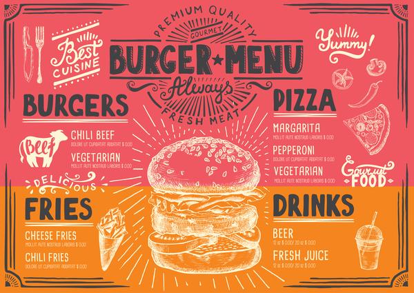 Vintage Burger Menu Template Vector Material 06