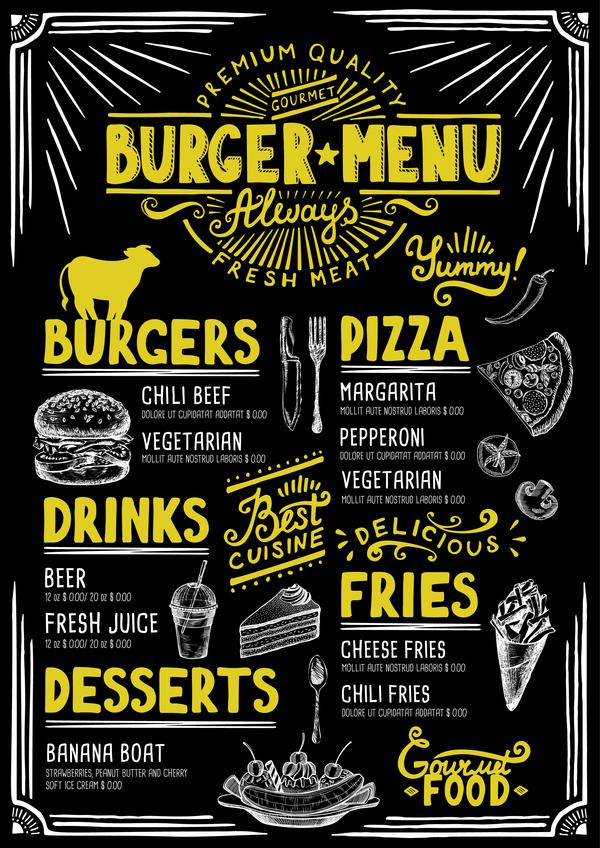 Vintage Burger Menu Template Vecteur Matriel 07