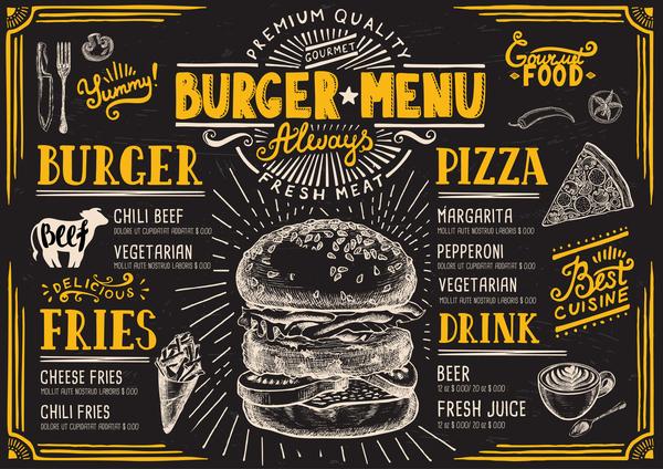 Vintage Burger Menu Template Vector Material 10