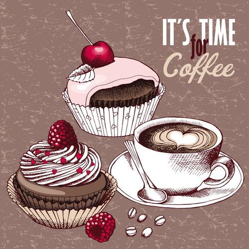 、ケーキ、コーヒー、ヴィンテージ