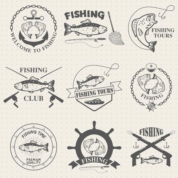 vintage Touren Fischerei Etiketten