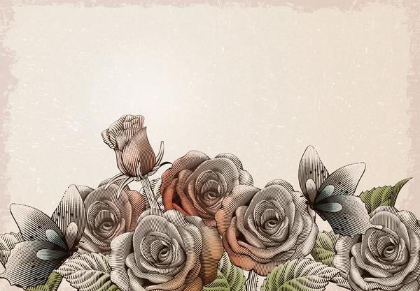 vintage rose fiori Farfalla decorative