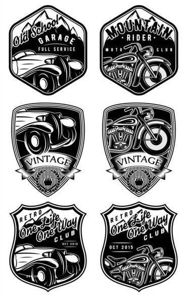 vintage motorcykel etiketter Bil