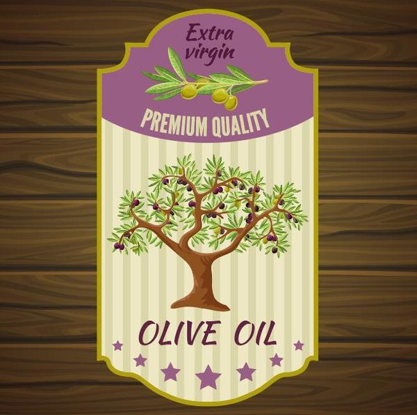 vintage trä olja oliv Lable