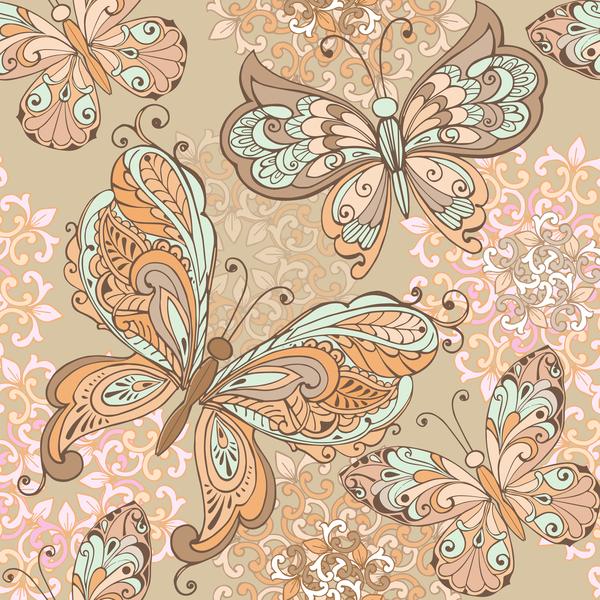 vintage sans couture pattern pastel Papillons décoratif Couleurs