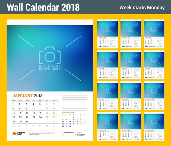 、2018 年カレンダー、壁