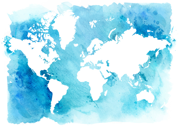 monde carte Aquarelle