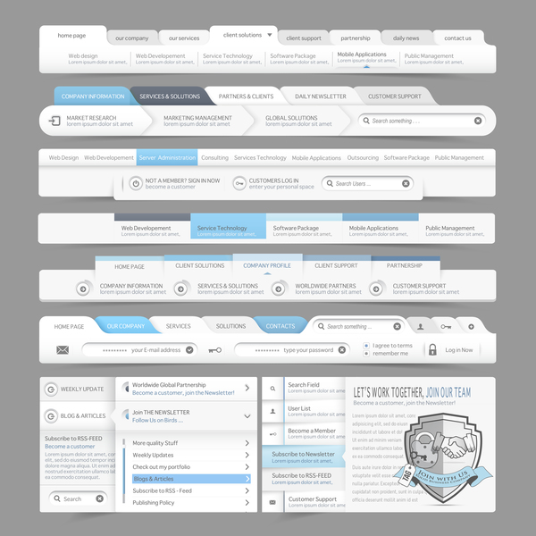 Webseite navigation menu