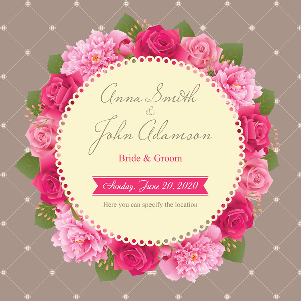 、カード、牡丹、ピンクバラ、結婚式