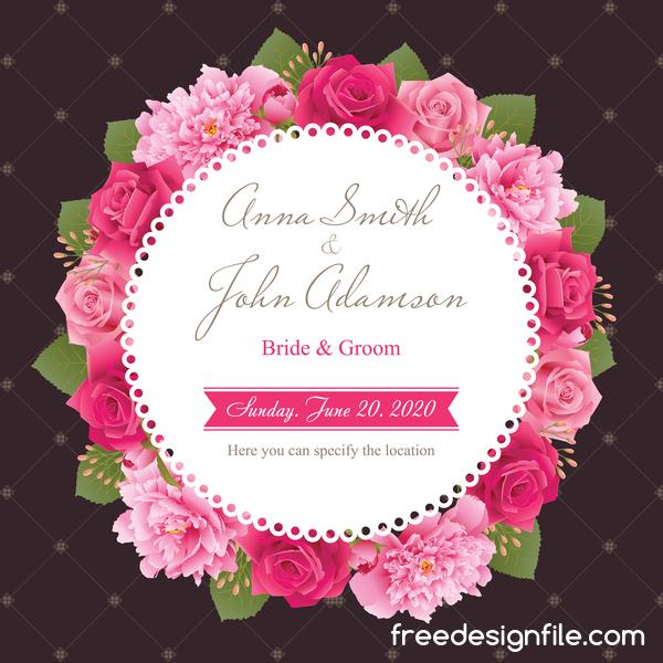 Rose rosa peonia matrimonio carta