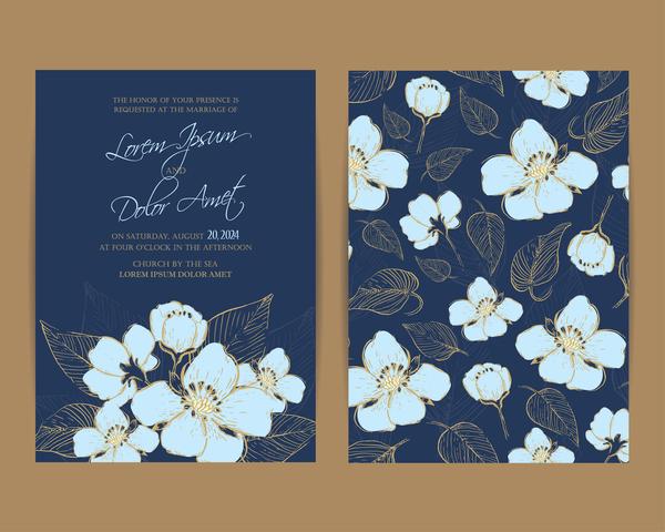 inbjudan flottans bröllop blommor blå