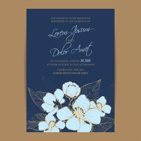 marine Hochzeit Einladung Blumen blau