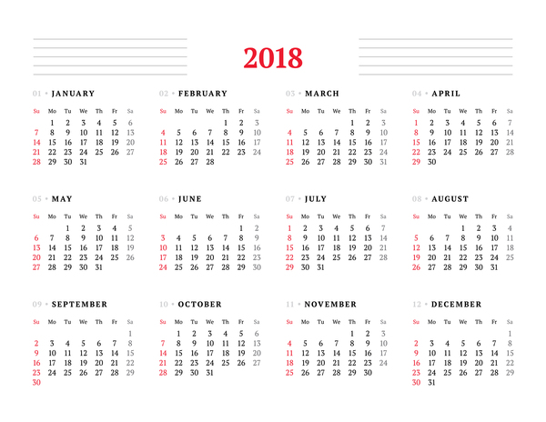 calendario bianco 2018
