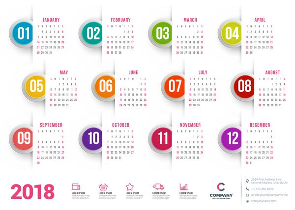 rond calendar bouton blanc 2018